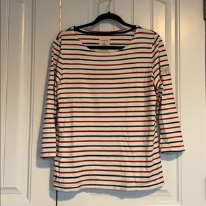 Joules navy/red striped 3/4 tee